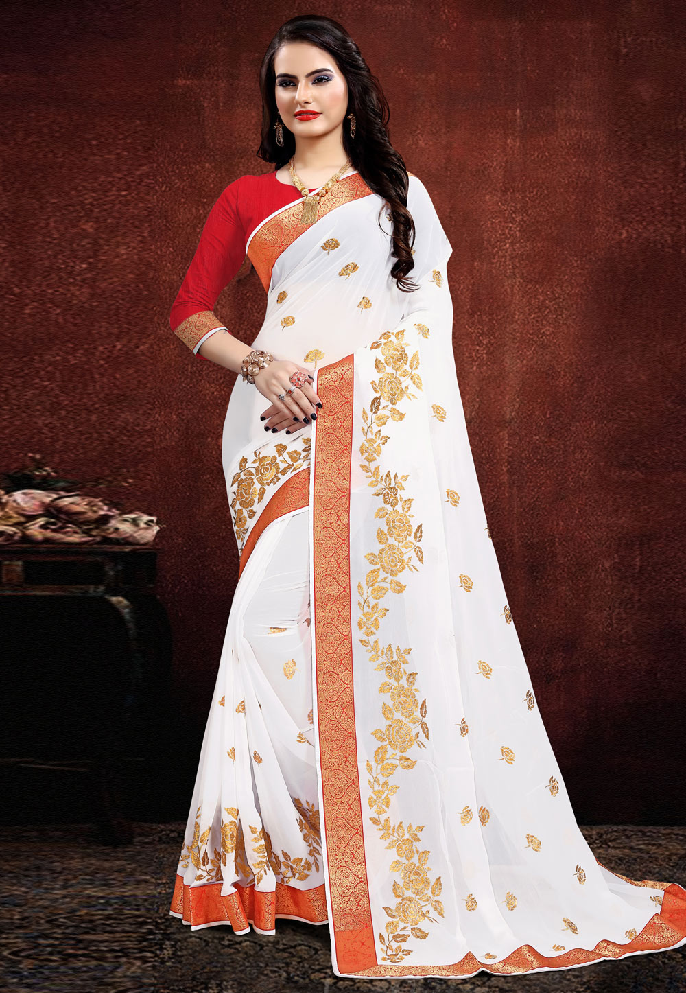 White Georgette Saree With Blouse 205673