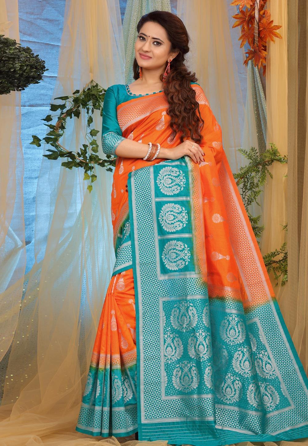 Orange Jacquard Saree With Blouse 168986