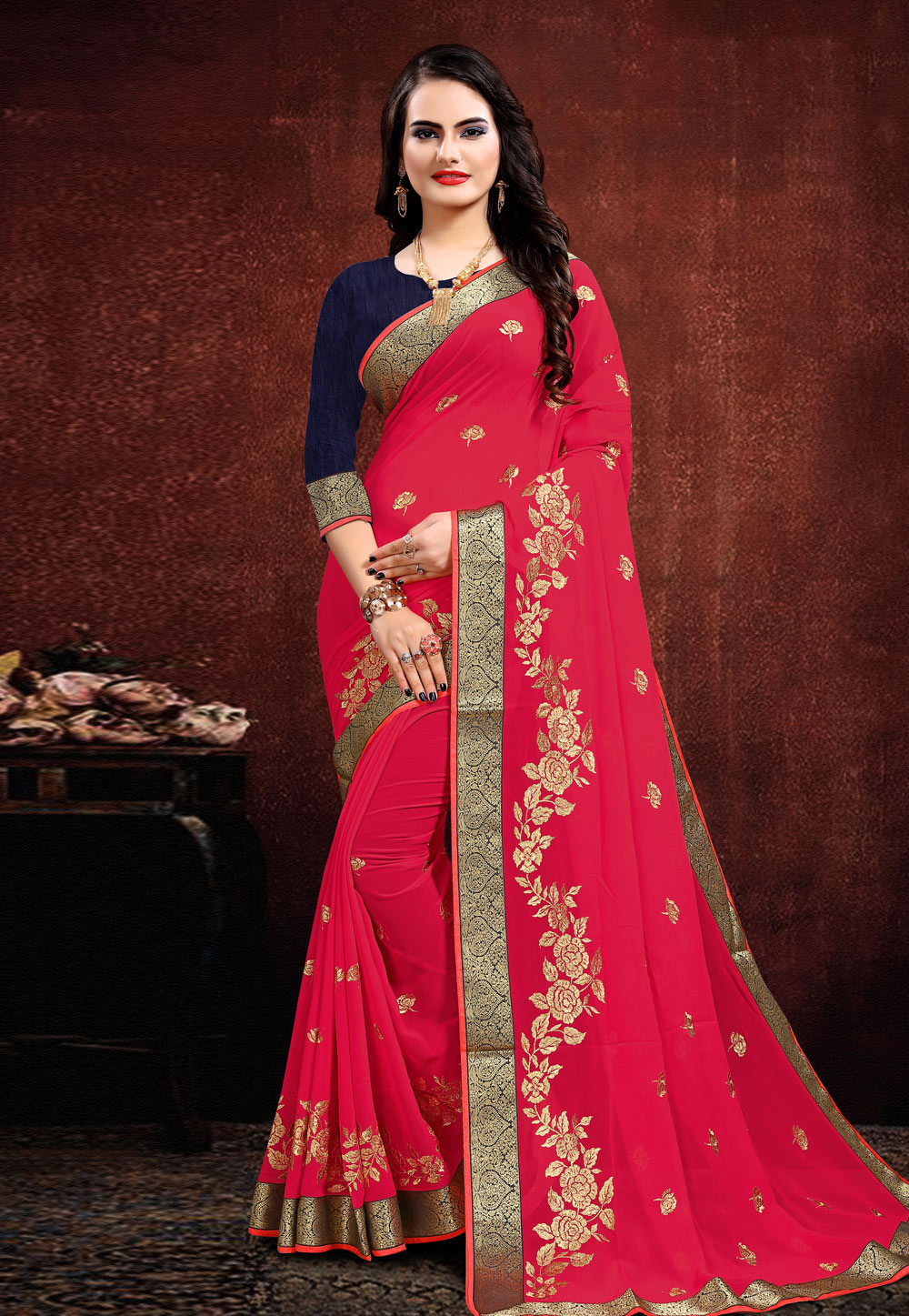 Pink Georgette Festival Wear Saree 205678