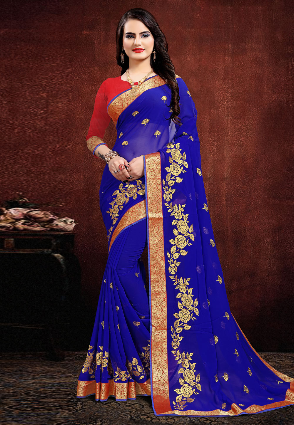Blue Georgette Saree With Blouse 205681