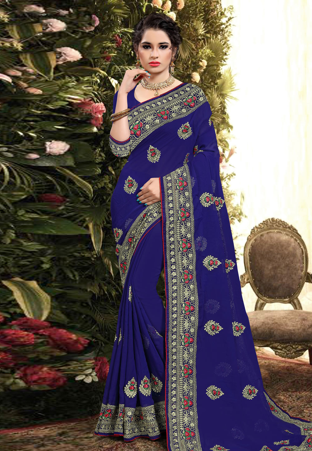 Blue Georgette Saree With Blouse 206197