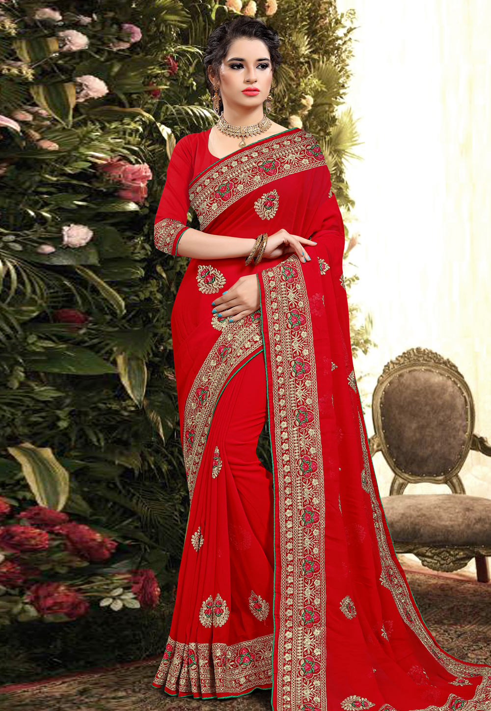 Red Georgette Saree With Blouse 206201