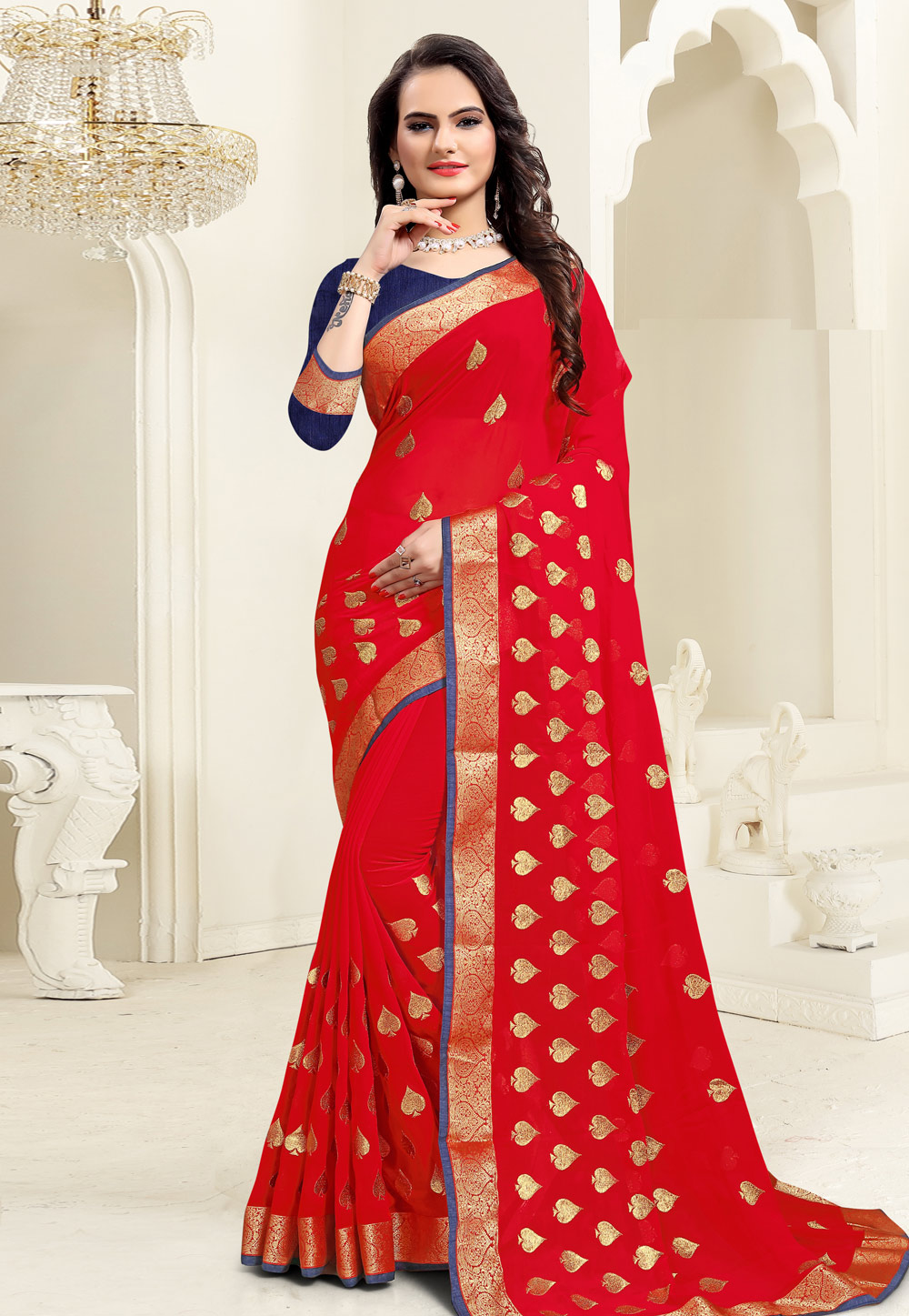 Red Georgette Saree With Blouse 206809