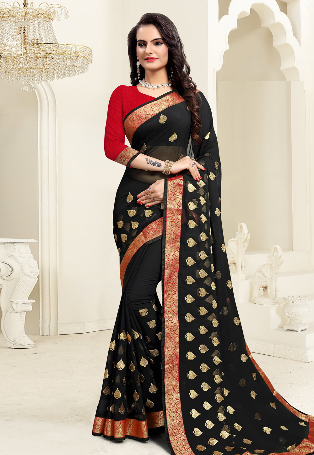 Black Georgette Saree With Blouse 206811