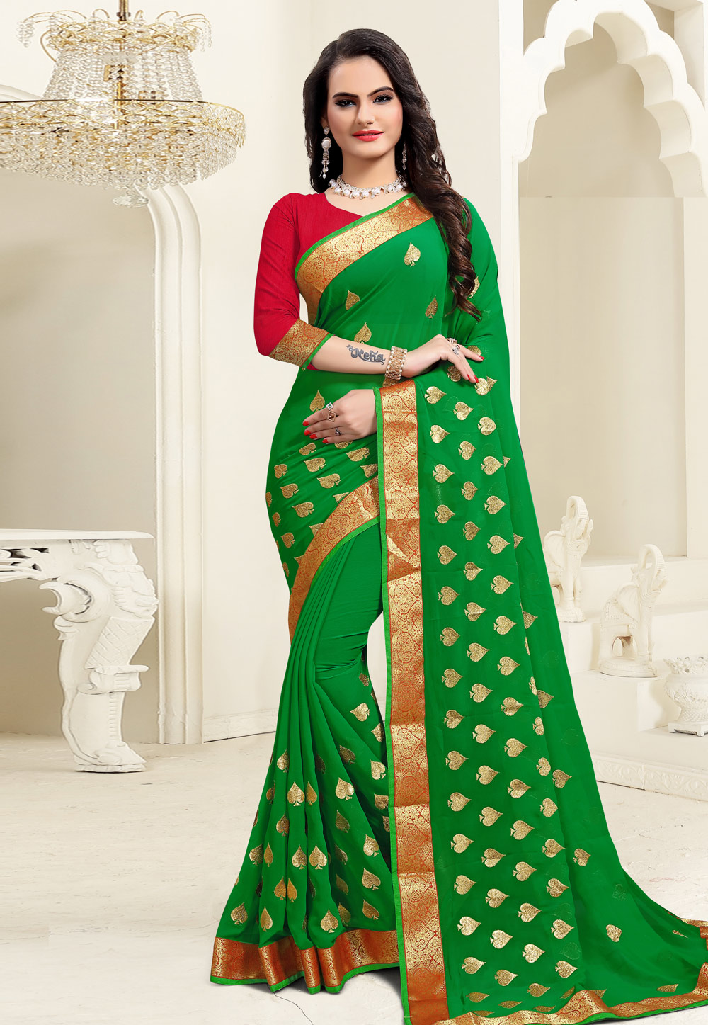 Green Georgette Saree With Blouse 206815