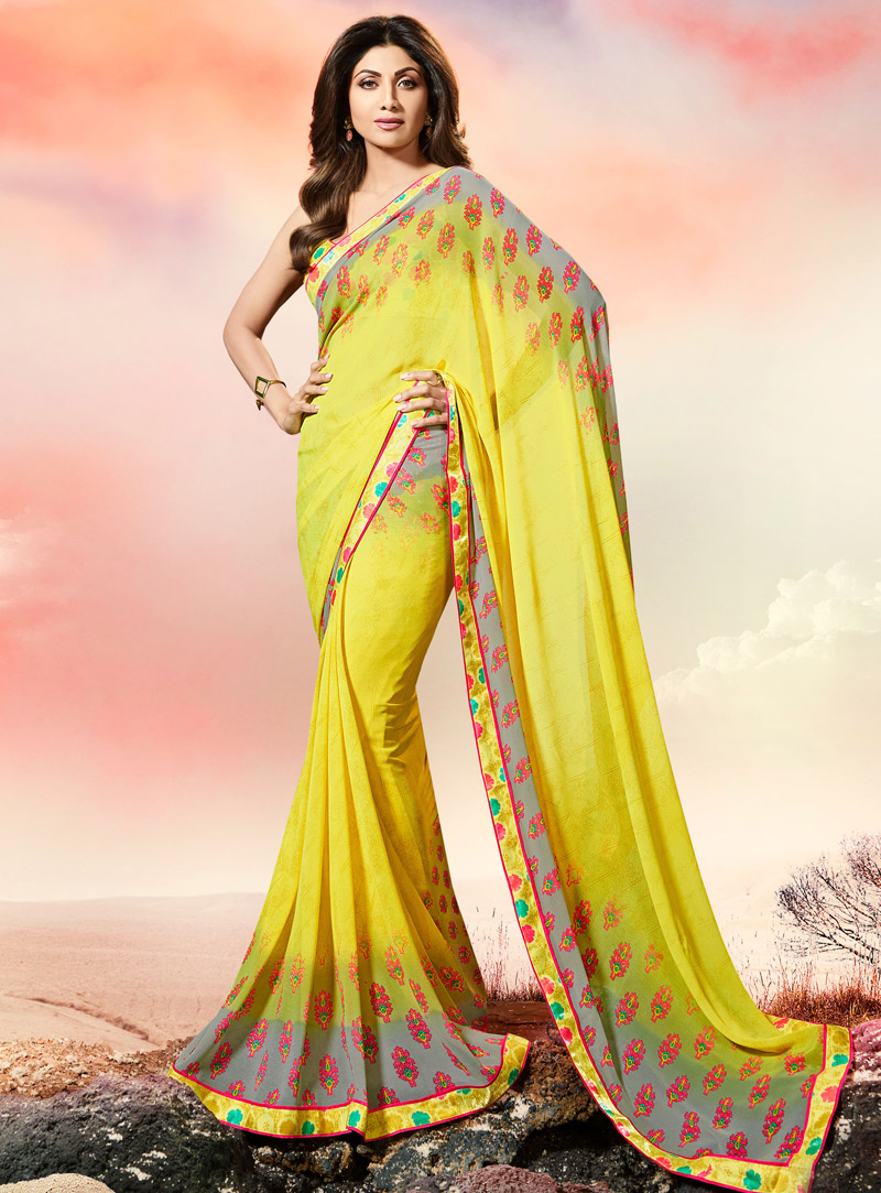 Shilpa Shetty Yellow Georgette Printed Saree With Blouse 108475