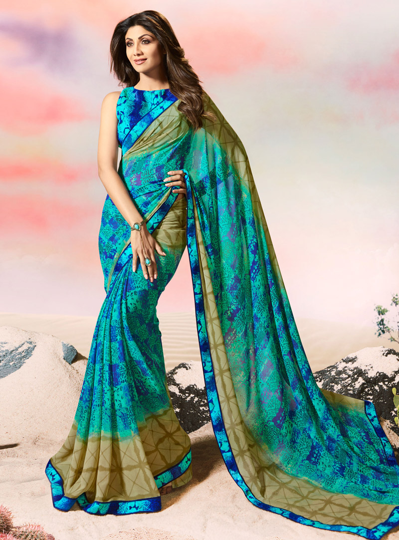 Shilpa Shetty Turquoise Georgette Casual Wear Saree 108476