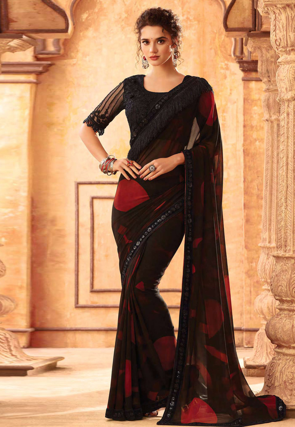 Black Georgette Embroidered Festival Wear Saree 198644