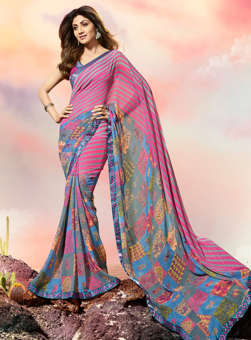 Shilpa Shetty Pink Georgette Printed Saree With Blouse 108483
