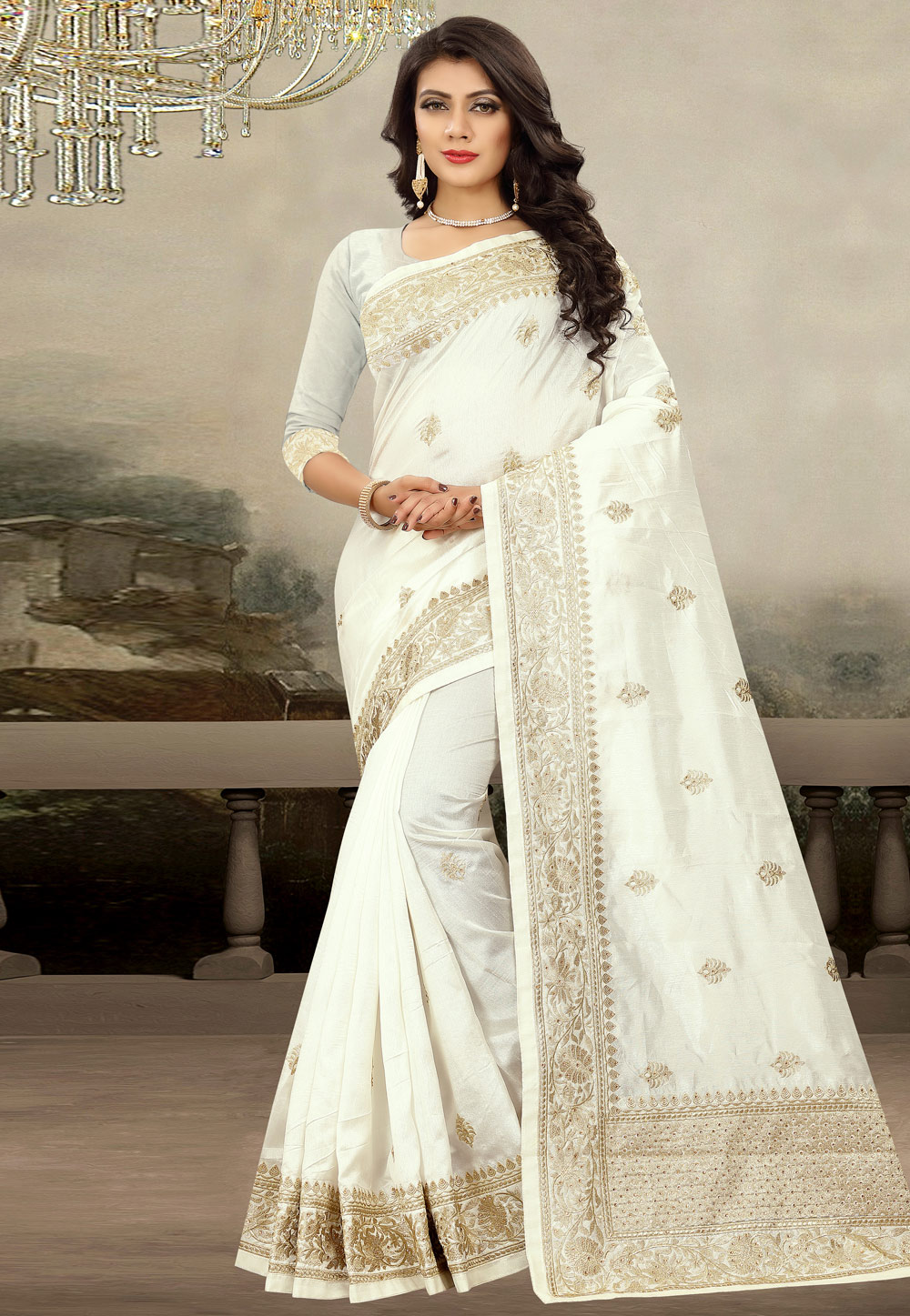 Off White Art Silk Saree With Blouse 181711