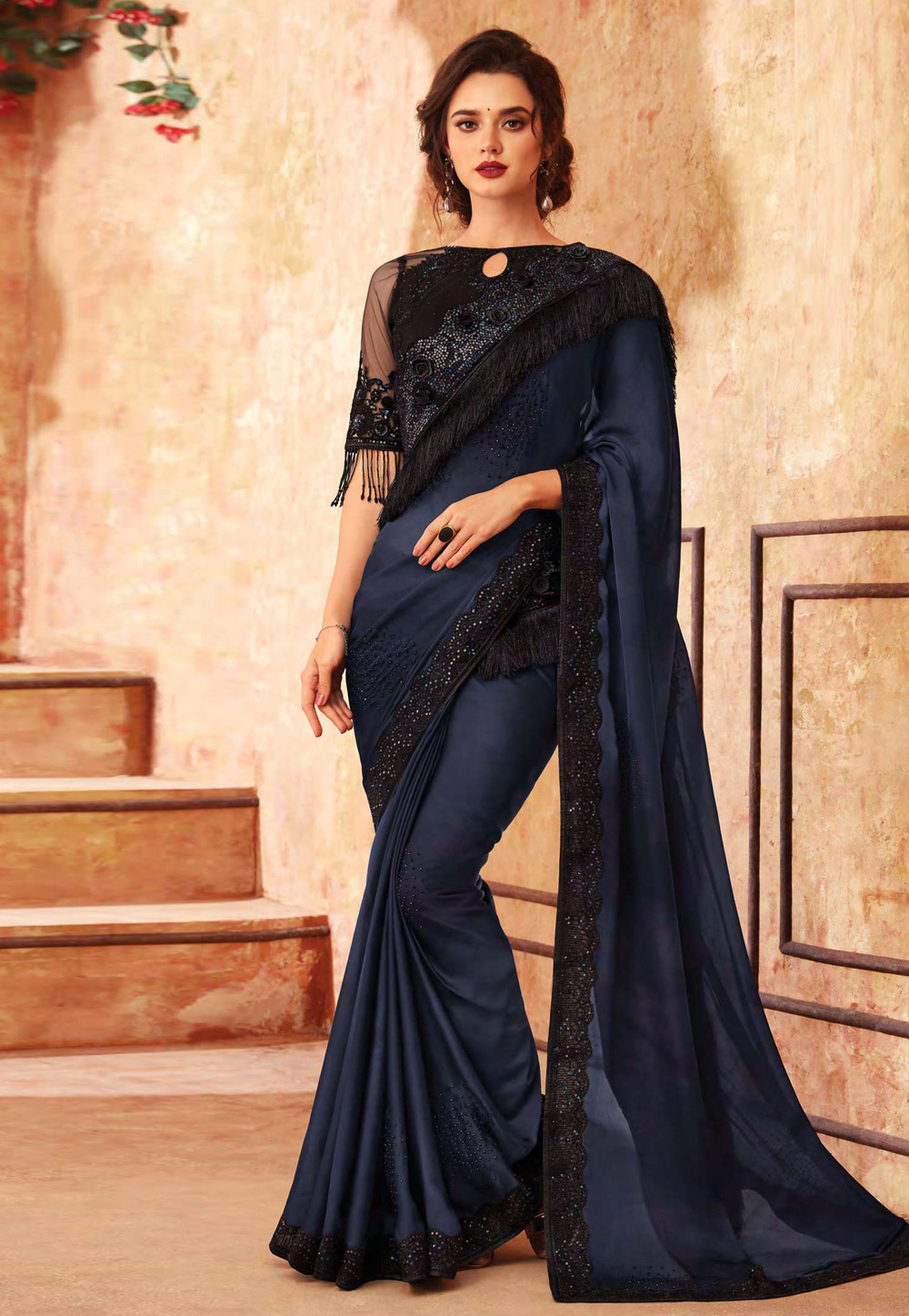 Navy Blue Silk Embroidered Saree With Blouse 198652