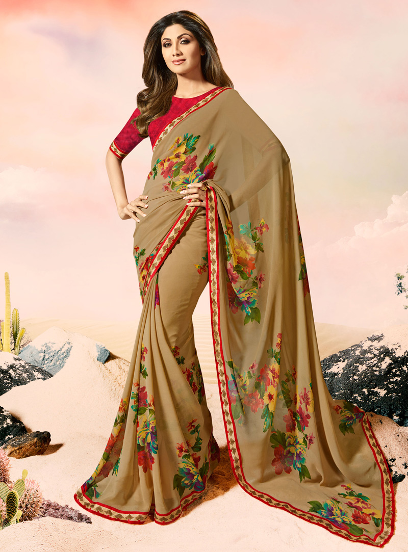 Shilpa Shetty Light Brown Georgette Casual Wear Saree 108490