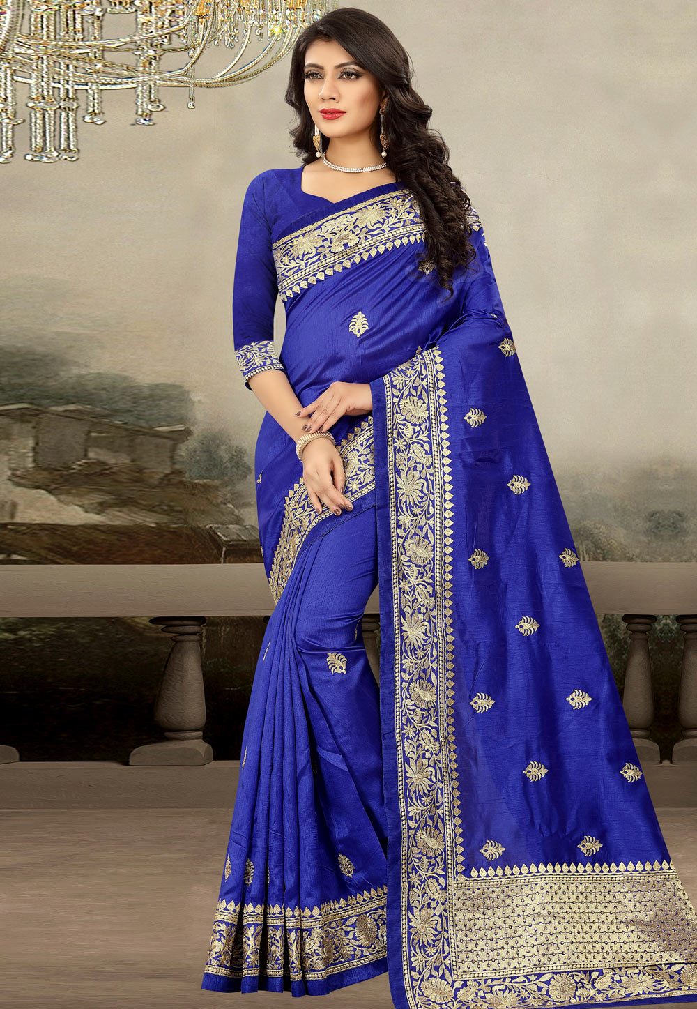 Blue Art Silk Saree With Blouse 181713