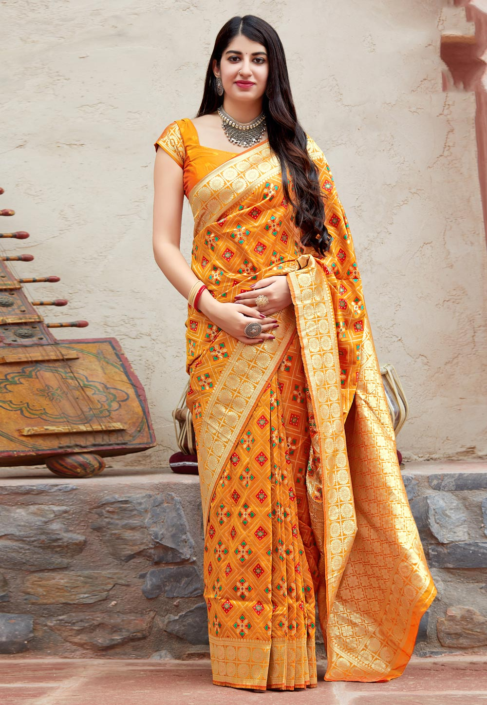 Orange Banarasi Silk Festival Wear Saree 186485