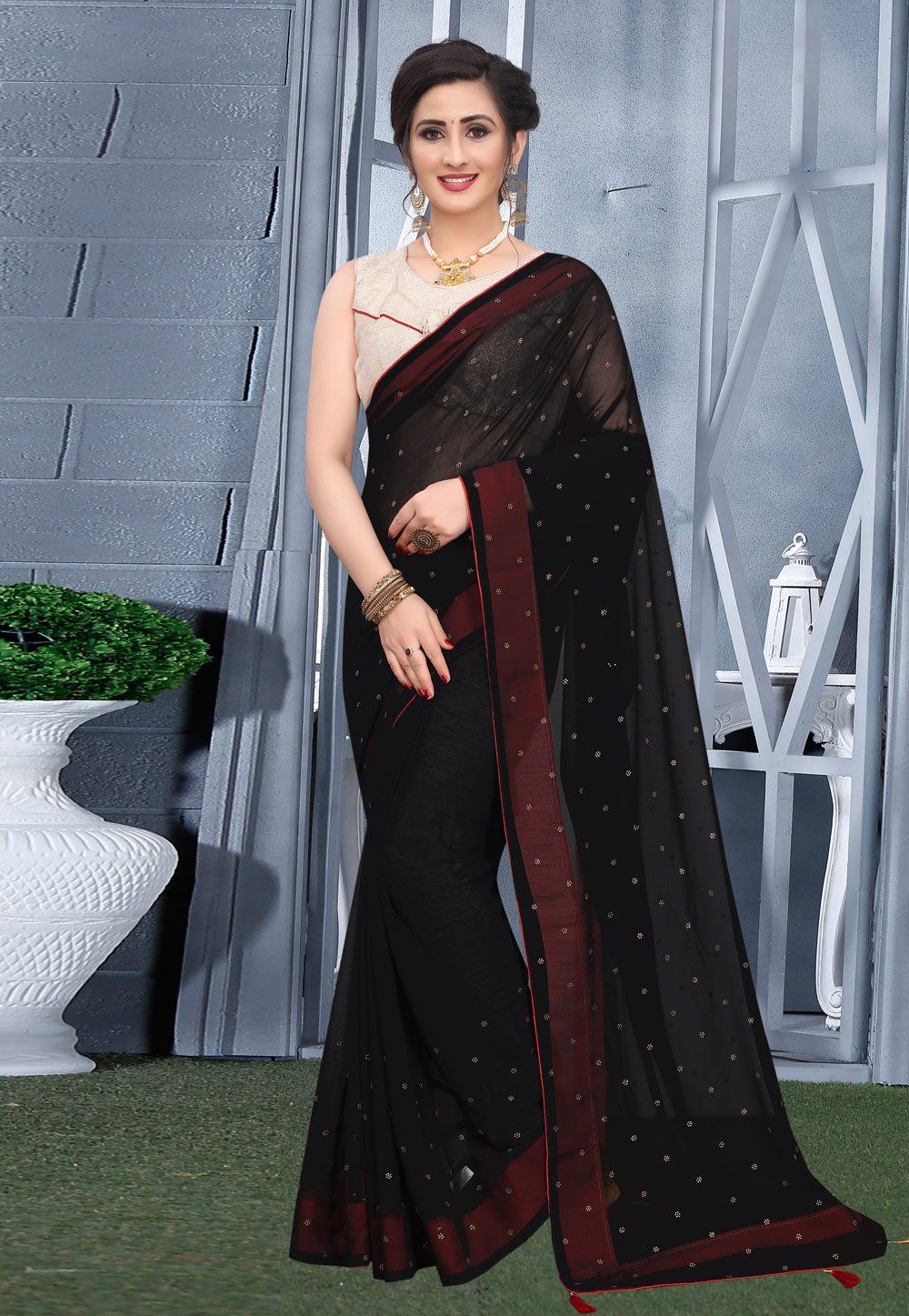 Black Georgette Saree With Blouse 207743