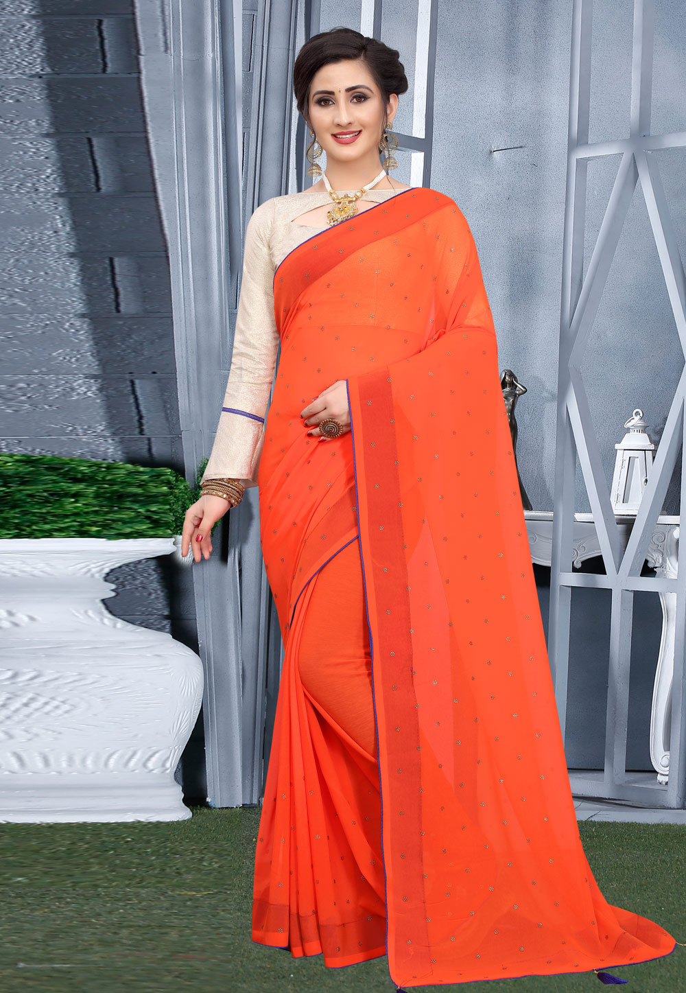 Orange Georgette Festival Wear Saree 207746