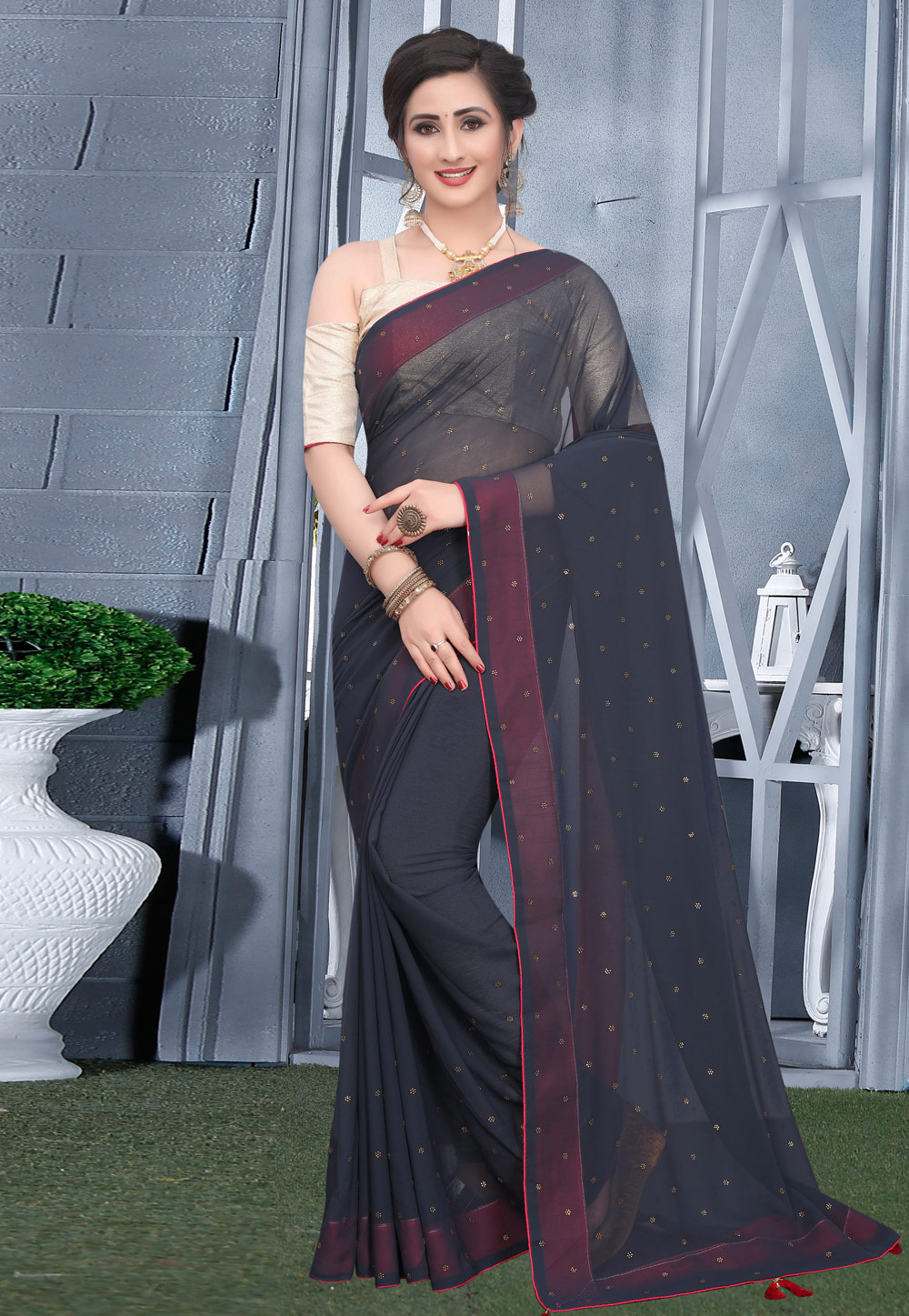 Dark Grey Georgette Saree With Blouse 207747