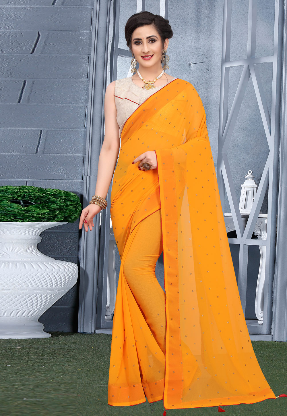Yellow Georgette Saree With Blouse 207749