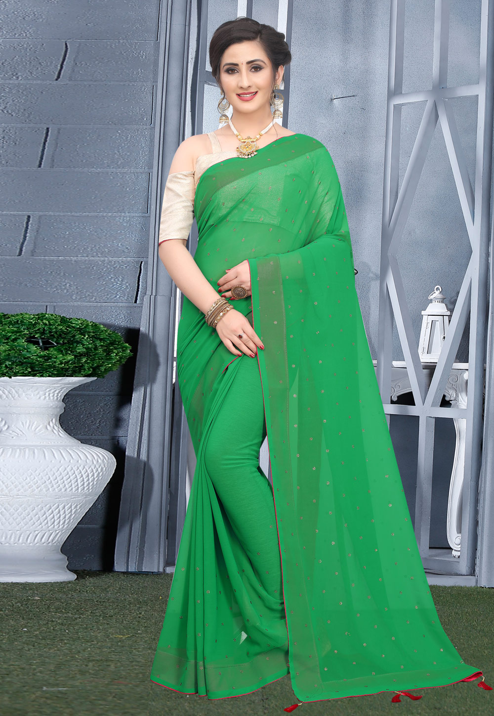 Green Georgette Saree With Blouse 207751