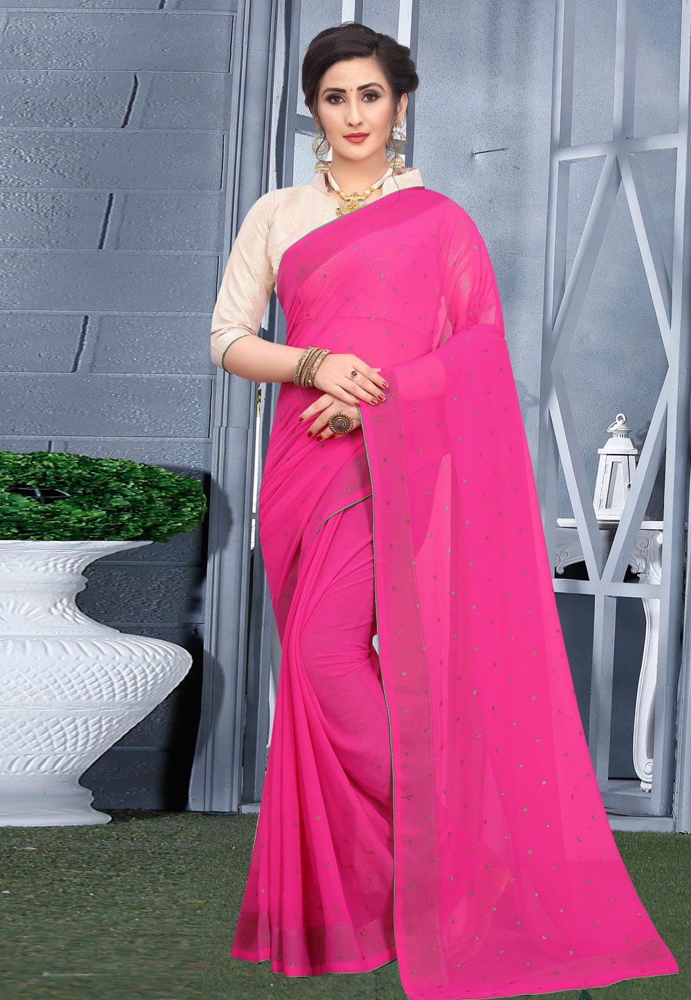 Pink Georgette Saree With Blouse 207753