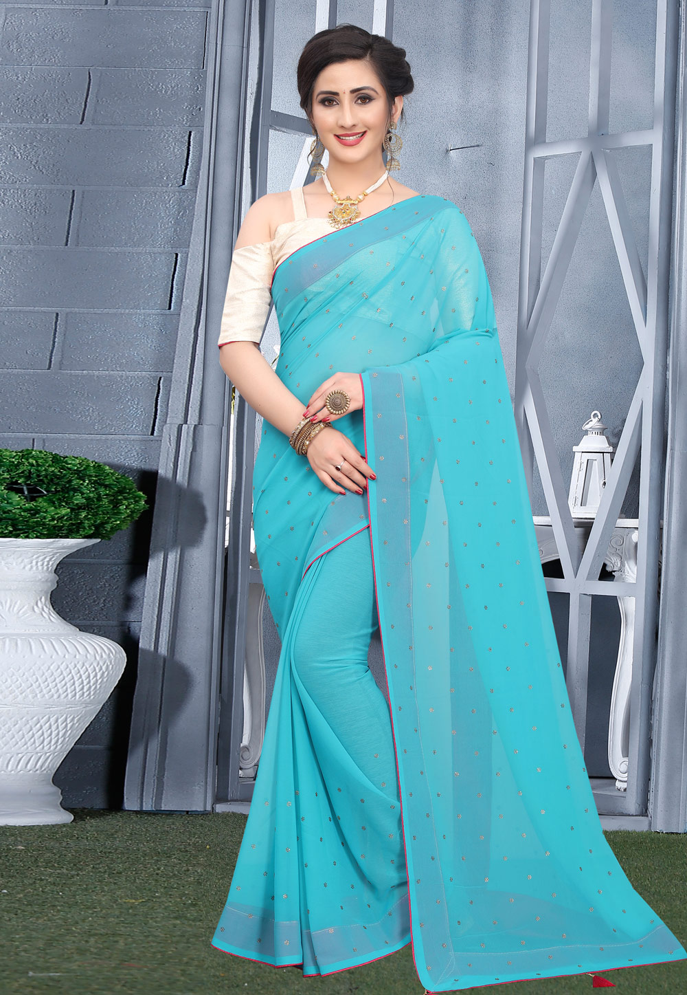 Sky Blue Georgette Saree With Blouse 207755