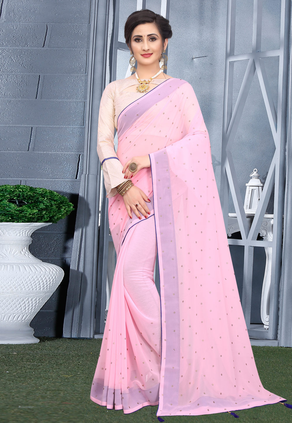 Light Pink Georgette Saree With Blouse 207757