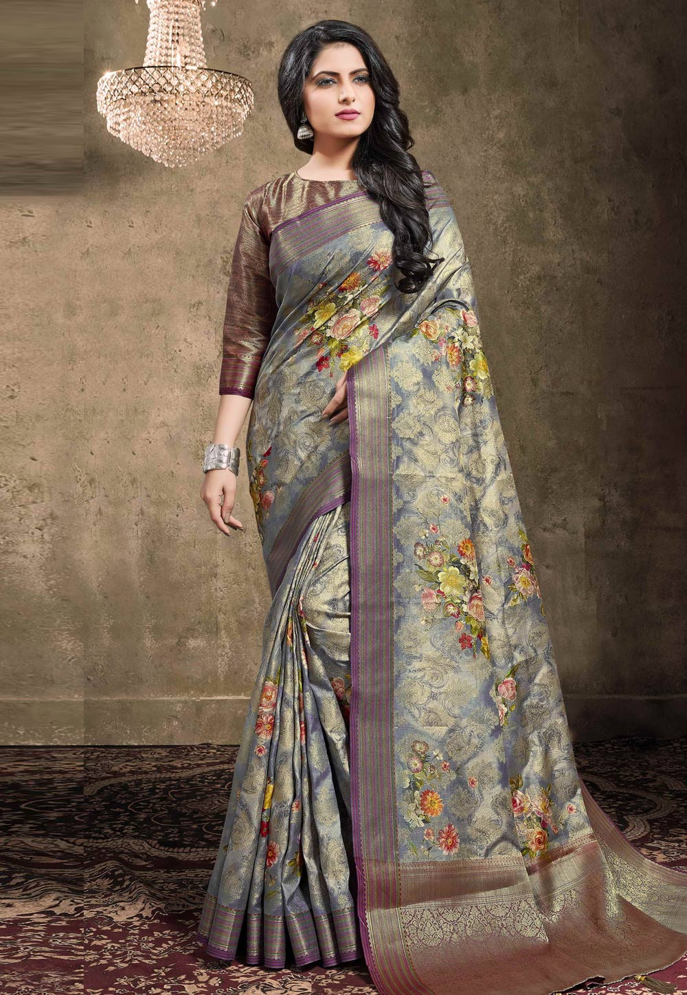Grey Georgette Jacquard Printed Saree With Blouse 208141