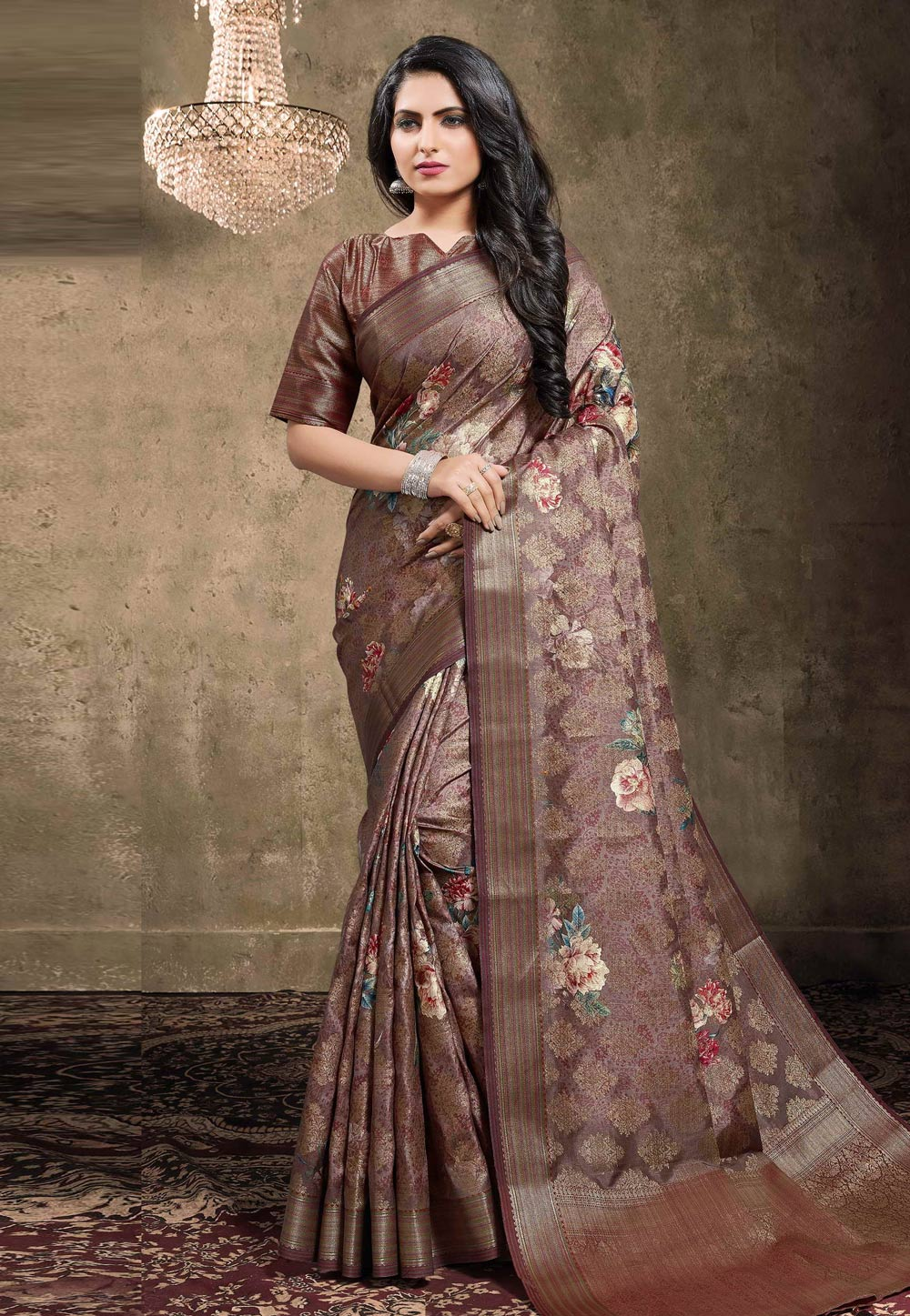 Brown Georgette Jacquard Printed Saree With Blouse 208143
