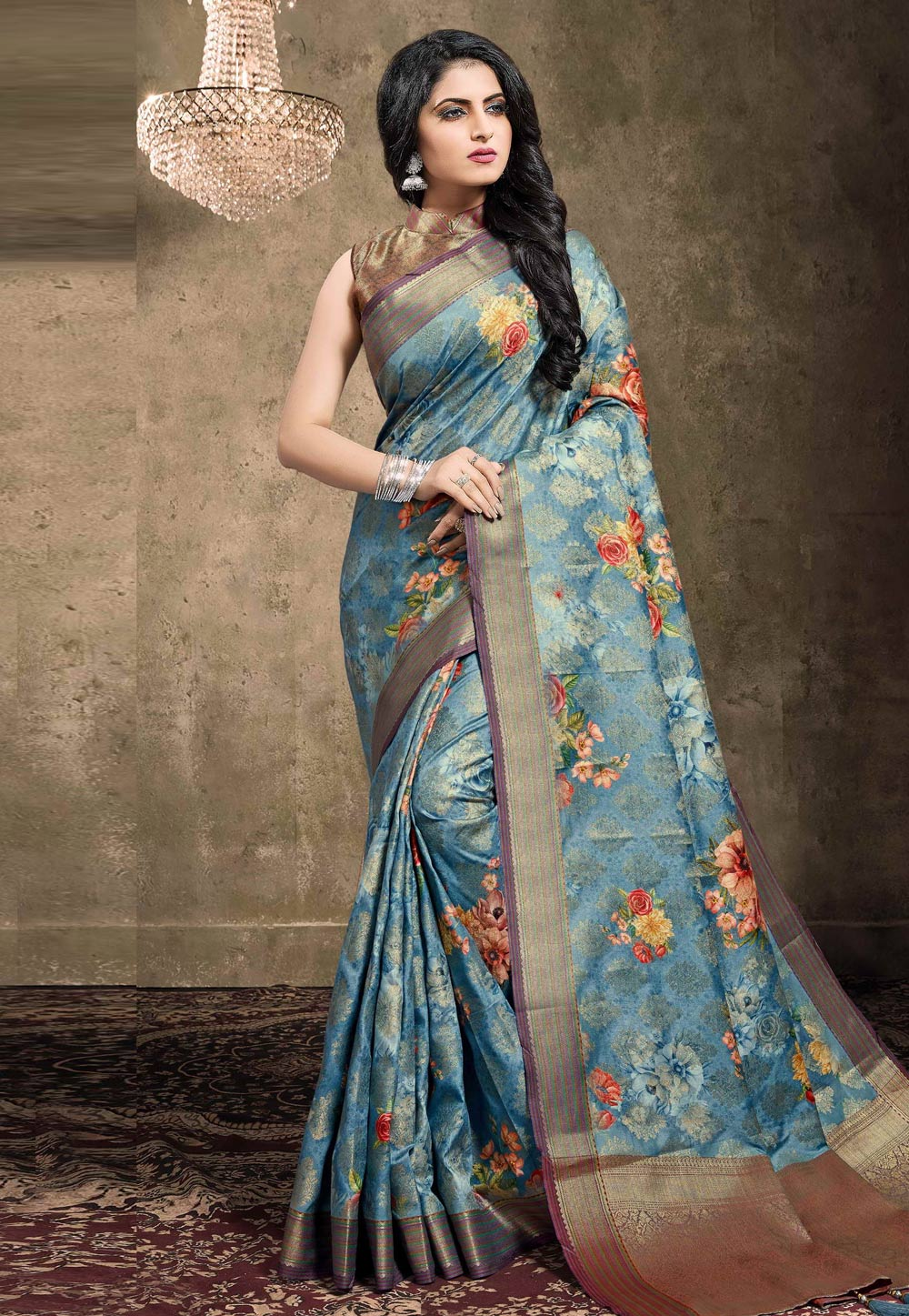 Light Blue Georgette Jacquard Printed Saree With Blouse 208151