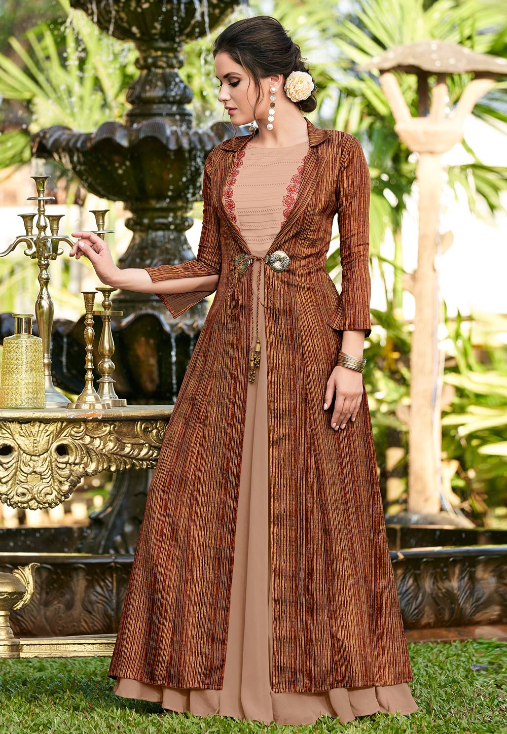 Brown Linen Gown With Jacket 162682