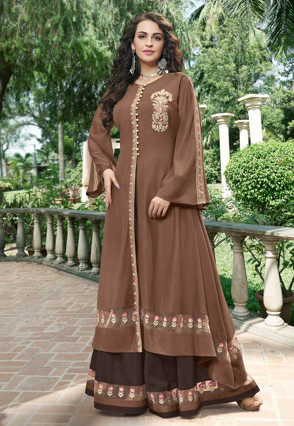 Brown Cotton Layered Gown 162689