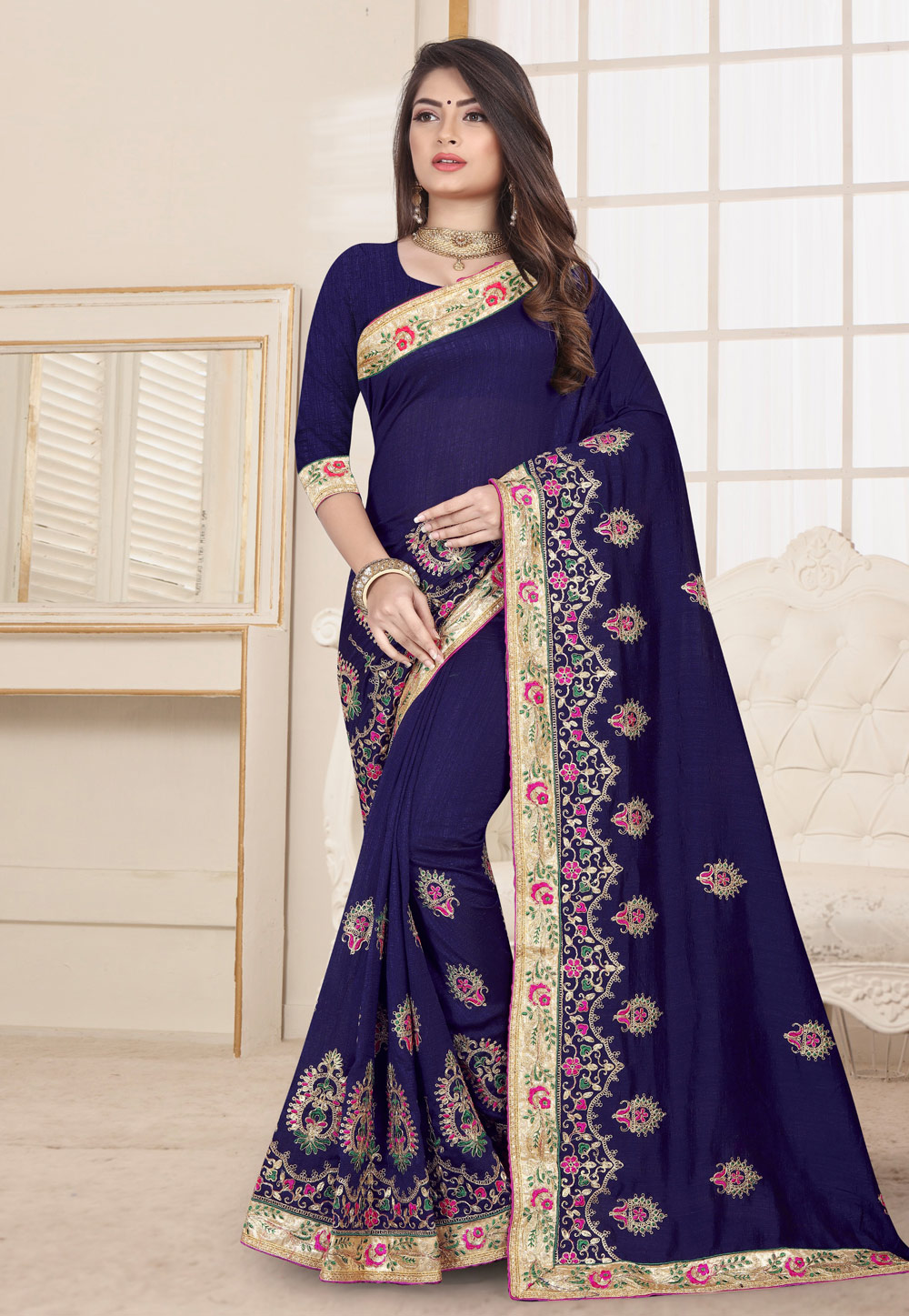 Navy Blue Silk Saree With Blouse 190249