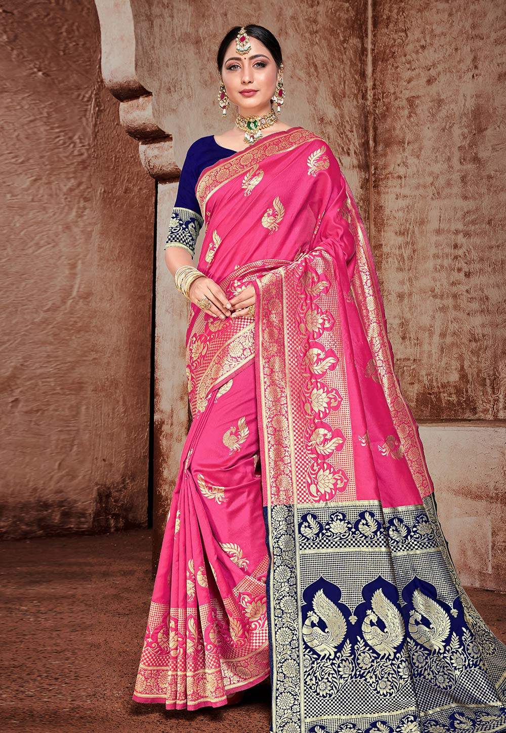 Pink Banarasi Silk Festival Wear Saree 206890