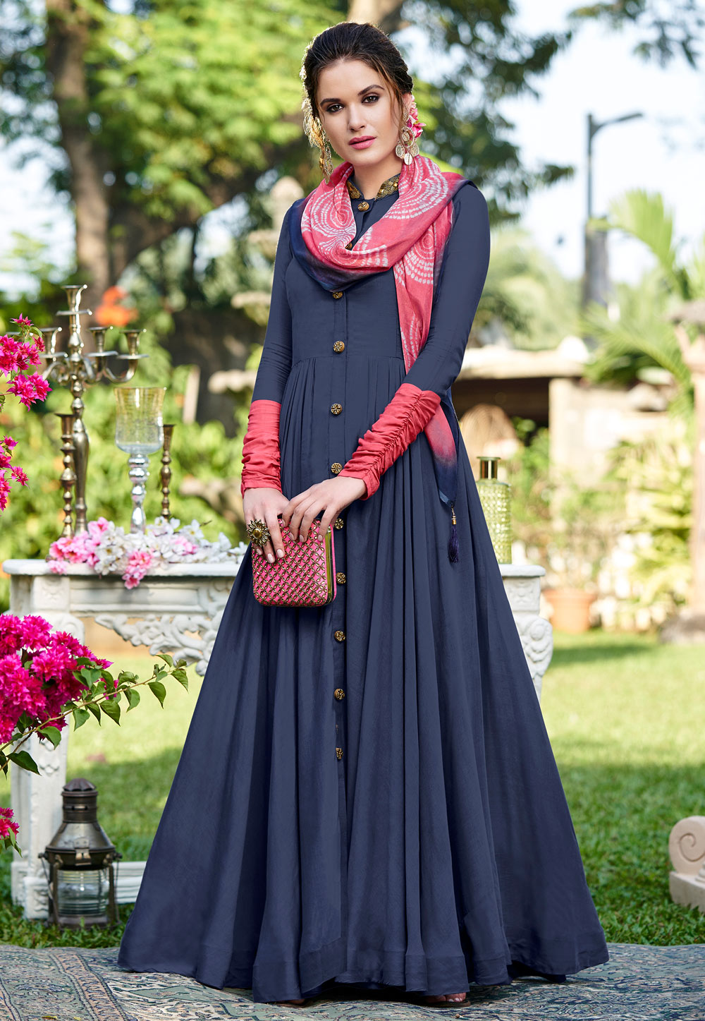 Blue Cotton Gown With Stole 162691