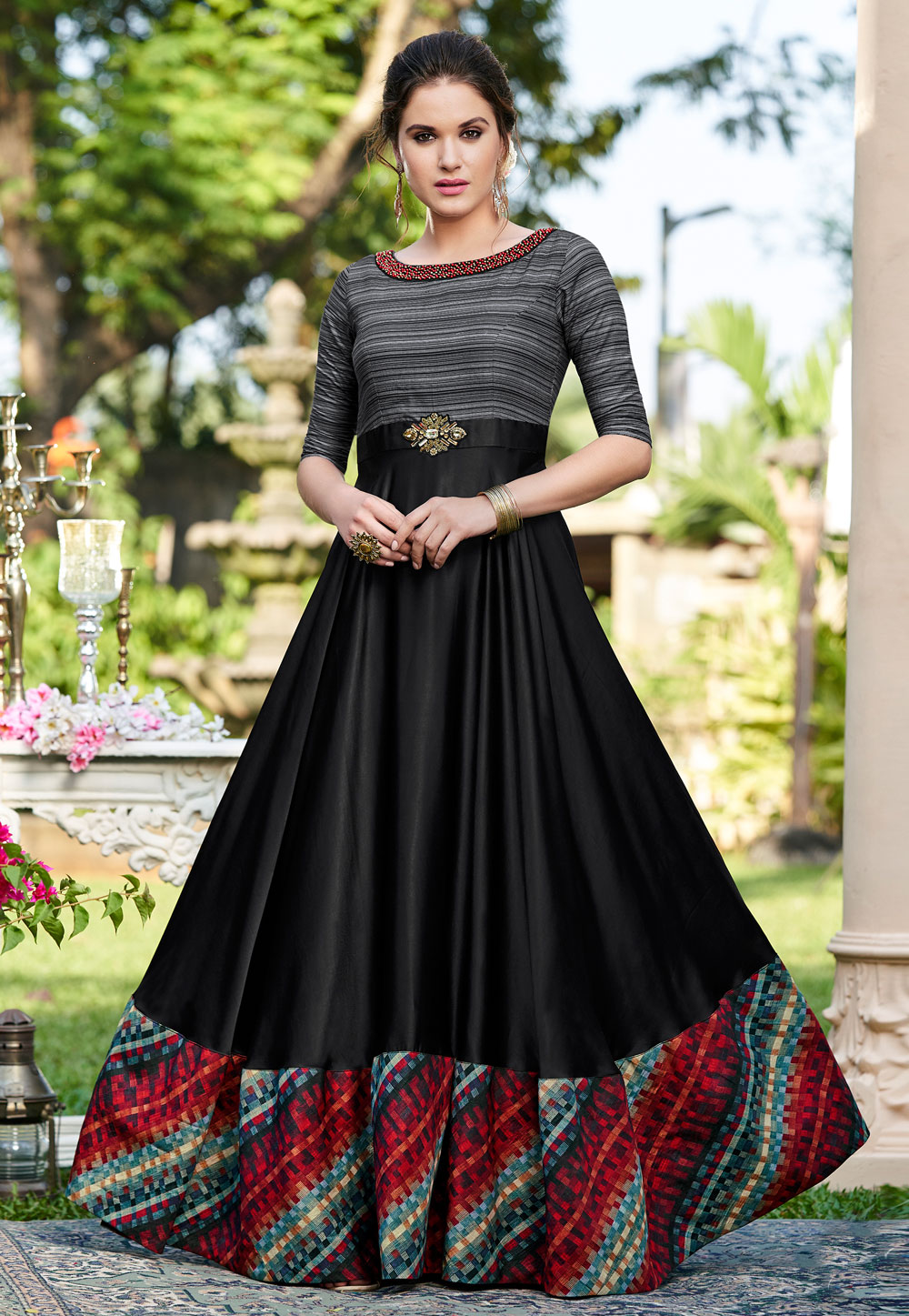 Black Cotton Printed Gown 162692