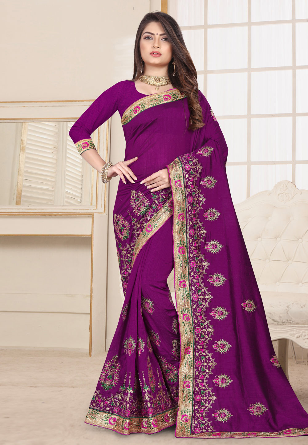 Violet Silk Festival Wear Saree 190254