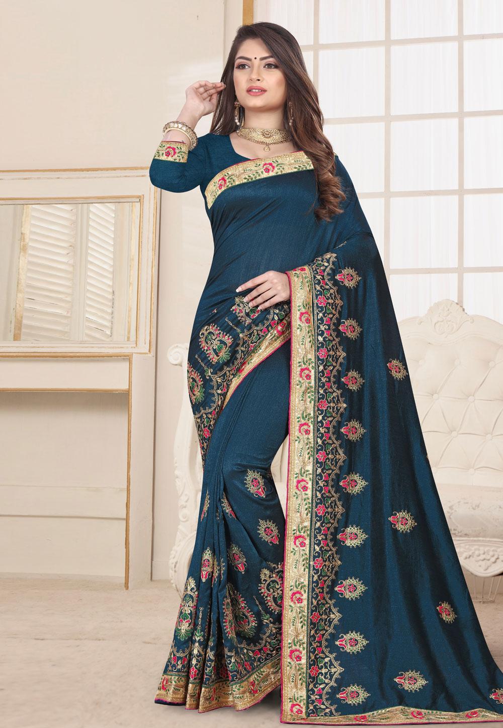 Navy Blue Silk Festival Wear Saree 190256
