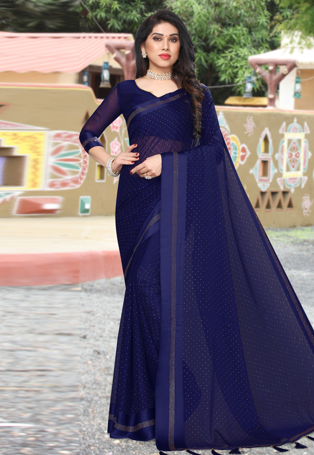Blue Satin Saree With Blouse 208421