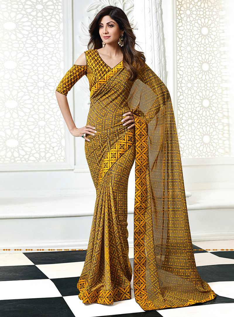 Shilpa Shetty Yellow Georgette Saree With Blouse 133862