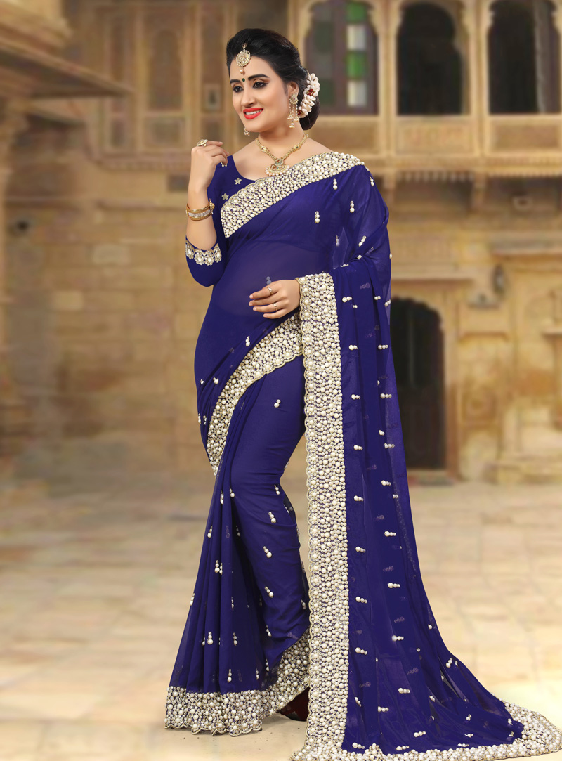 Navy Blue Georgette Saree With Blouse 143430