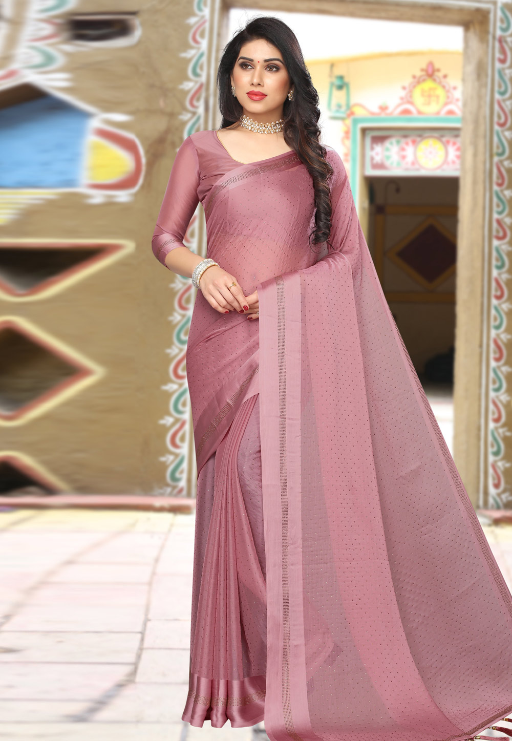 Pink Satin Saree With Blouse 208429