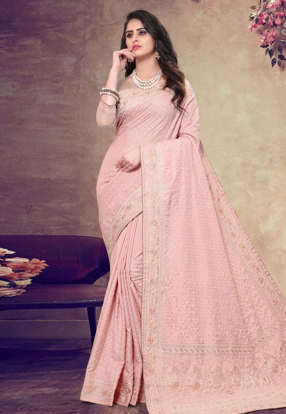 Peach Georgette Festival Wear Saree 199149