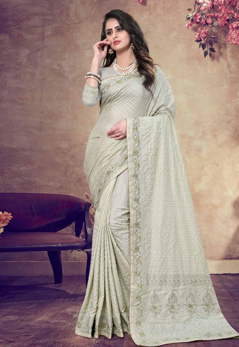Light Green Georgette Saree With Blouse 199150