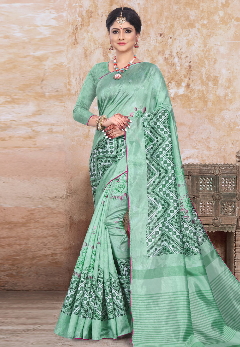 Sea Green Art Silk Printed Saree With Blouse 191458