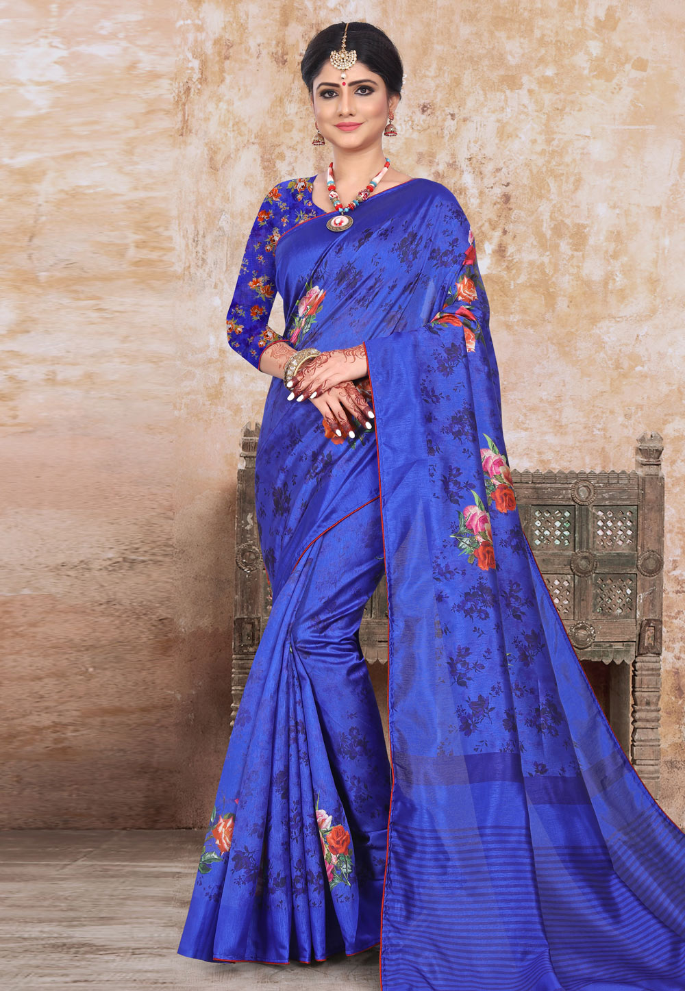 Blue Art Silk Printed Festival Wear Saree 191463