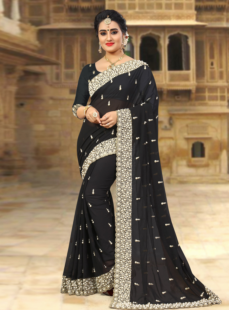 Black Georgette Saree With Blouse 143432