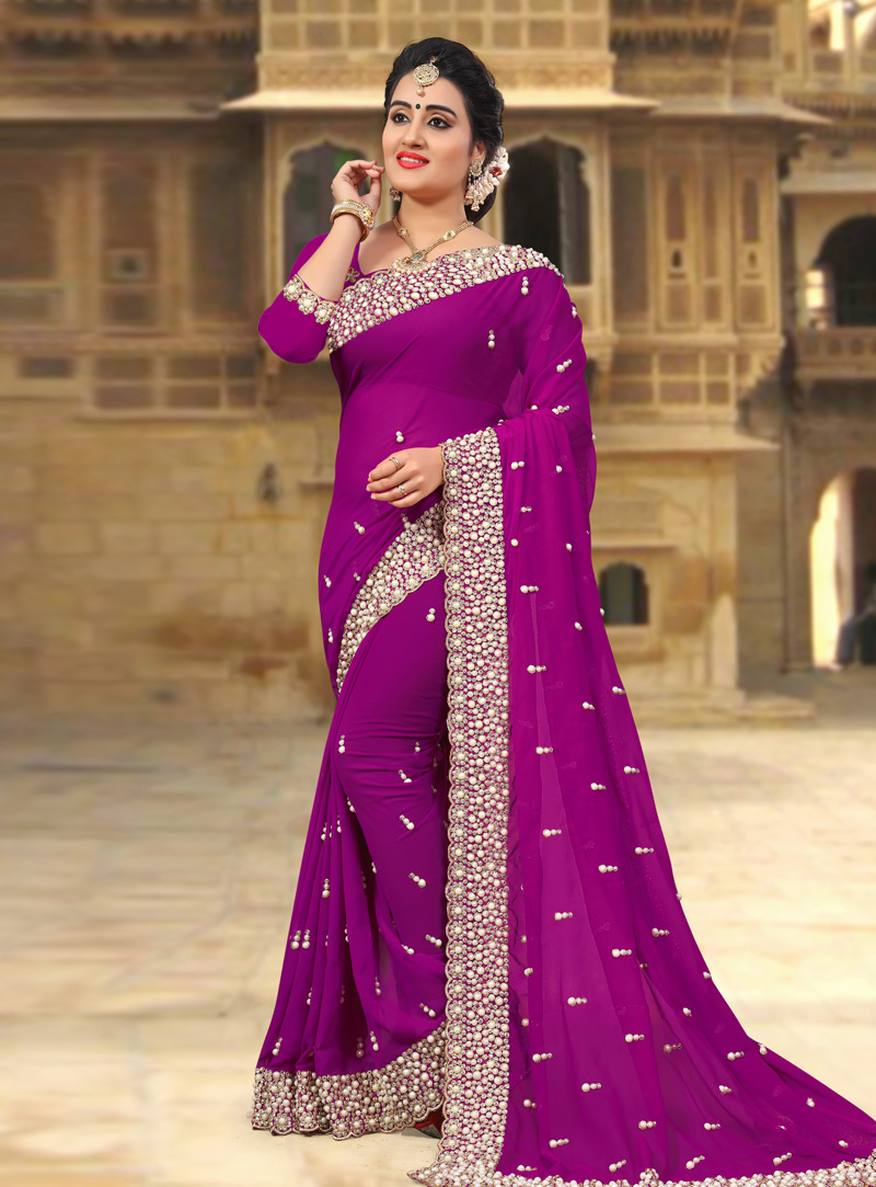 Magenta Georgette Saree With Blouse 143434