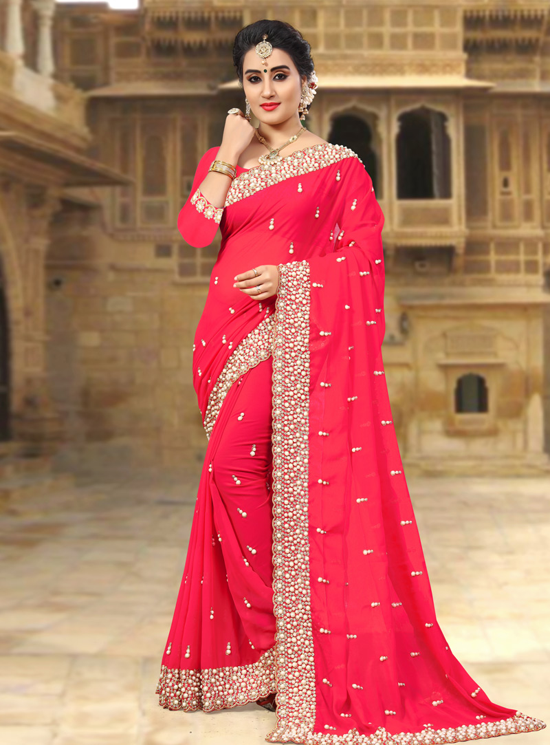 Pink Georgette Saree With Blouse 143436