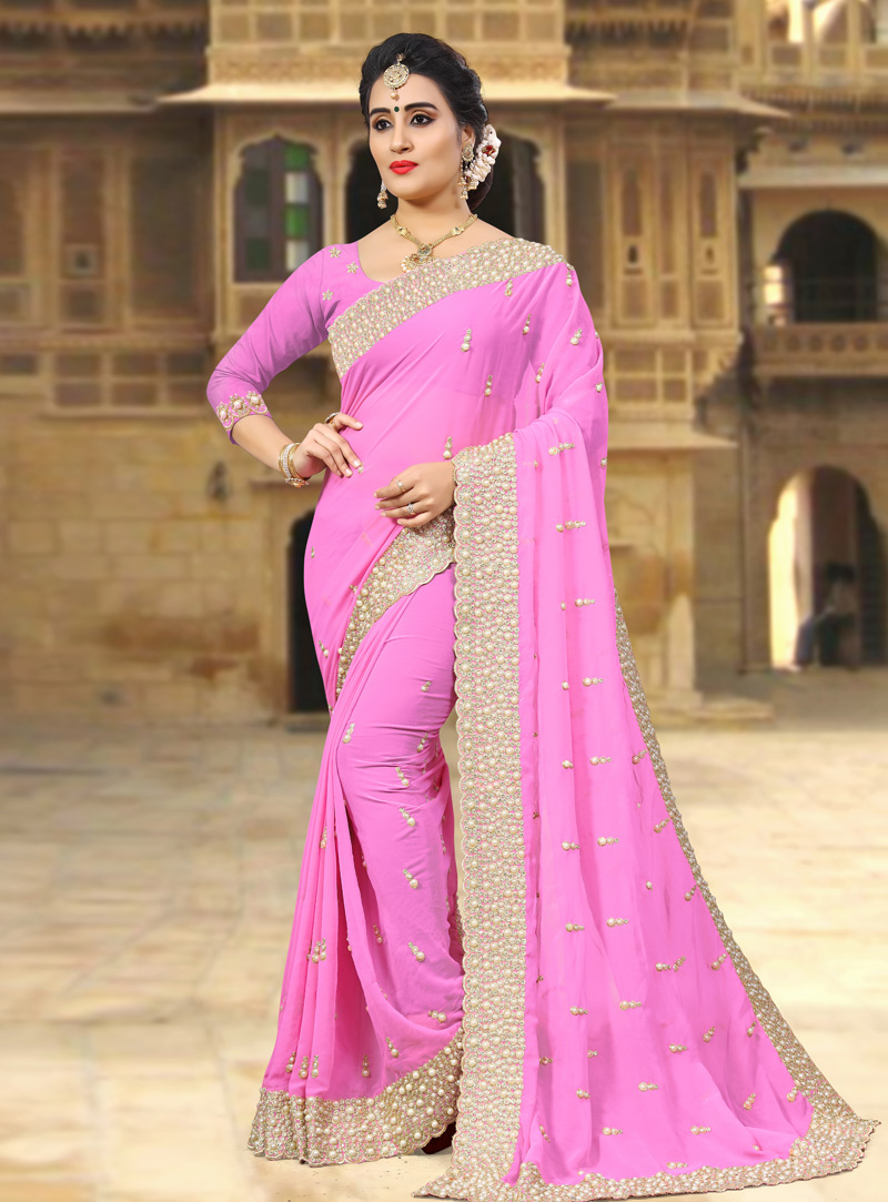Pink Georgette Saree With Blouse 143438