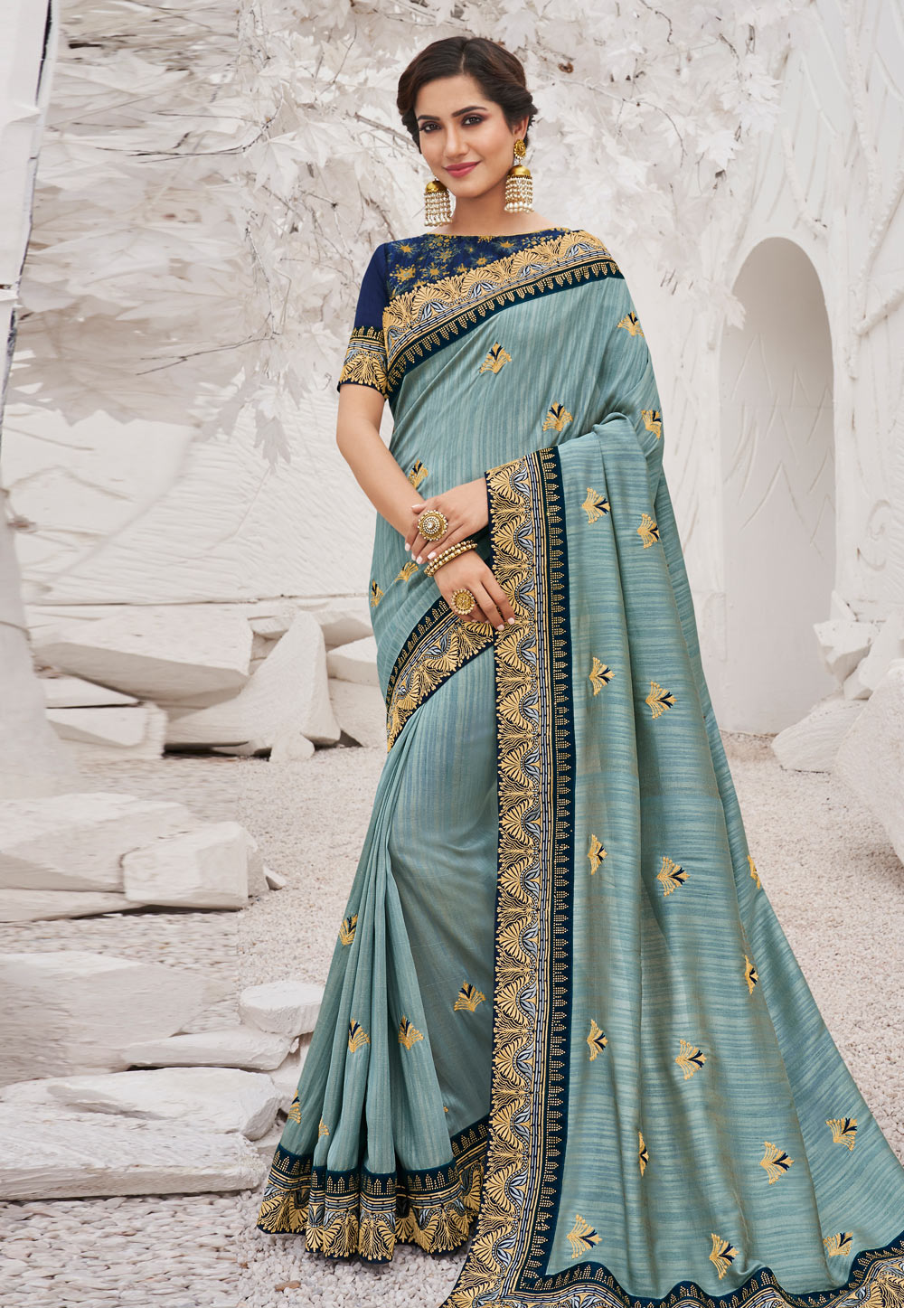 Grey Satin Party Wear Saree 202593